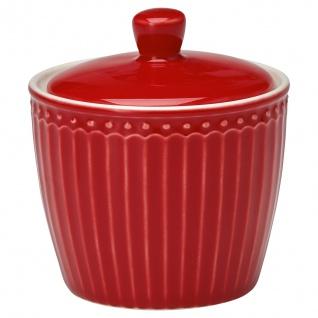Greengate Zuckerdose ALICE Rot Zuckertopf Everyday Geschirr RED Dose 9x10 cm