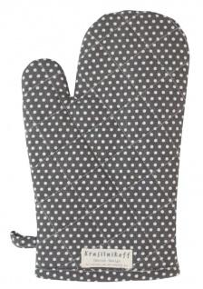Krasilnikoff Ofenhandschuh Micro Punkte Dunkelgrau Baumwolle Weiß gepunktet