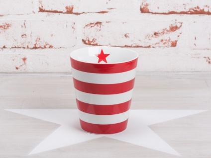 Krasilnikoff Happy Mug Becher STREIFEN Rot weiß Stern rot Porzellan