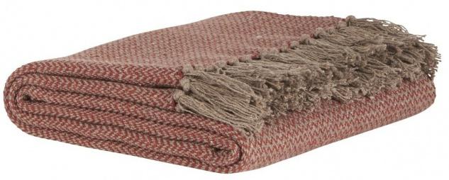 IB Laursen Plaid Rot Braun Zick Zack Muster Decke mit Fransen Baumwolle 130x160