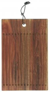 IB Laursen Schneidebrett mit Rillen 25x38 cm Akazien Holz Geölt Lederband