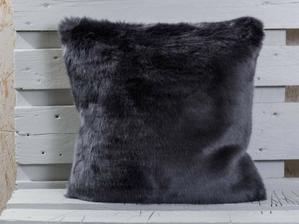 Pad Kissen SHERIDAN Fellkissen Grau Kissenhülle 45x45 Fell Kissenbezug