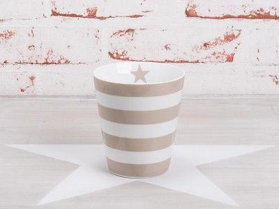 Krasilnikoff Happy Mug Becher STREIFEN Taupe weiß Stern Tasse Porzellan