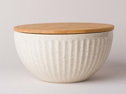 Bloomingville Dose Carrie Keramik Holzdeckel 21 cm 1.500 ml creme beige