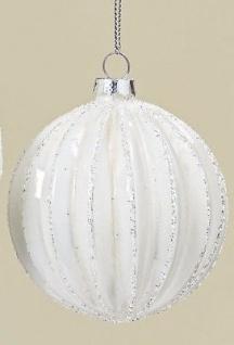 Weihnachtskugel Sarah Weiss Streifen Vertikal Weihnachtsdeko Tannenbaum Schmuck