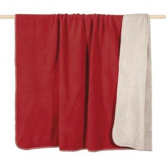 Pad Decke Hobart rot creme Wolldecke Wohndecke Kuscheldecke