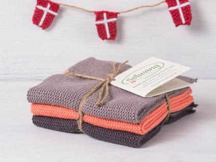 Solwang Wischtuch WARM GRAU KORALLE KOMBI gestrickt 3er Set Küchentuch Putztuch