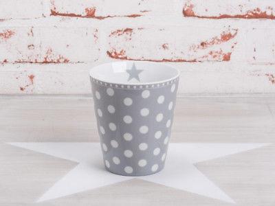 Krasilnikoff Happy Mug Becher PUNKTE Hellgrau weiß Tasse Porzellan Grau