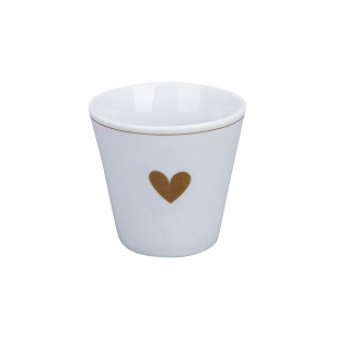 Krasilnikoff Espresso Tasse mit HERZ in Gold Espressobecher 80 ml Tasse