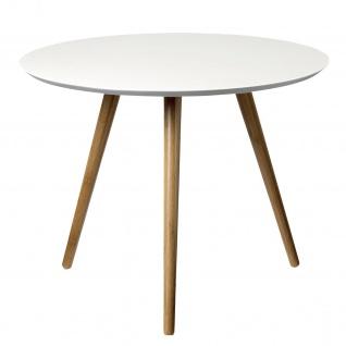 Bloomingville Beistelltisch Weiß 59 cm Coffee Table Rund Bambus Holz 3 Beine