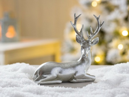 Hirsch HEINRICH silber liegend Weihnachtsdeko 15 cm Deko Objekt Kunstharz