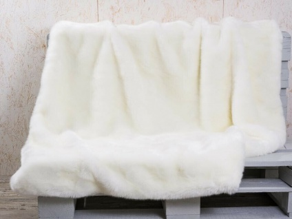 Pad Decke SHERIDAN Felldecke Weiß Kuscheldecke Wohndecke 140x190 Kunstfell