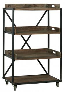 IB Laursen Display REGAL auf Rädern mit 3 Holz Tabletts 1 Fester Boden H 100 cm