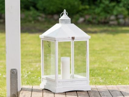 Laterne ROMANTICA 66 cm Gartenlaterne Holz weiß Windlicht Shabby Chic Landhaus
