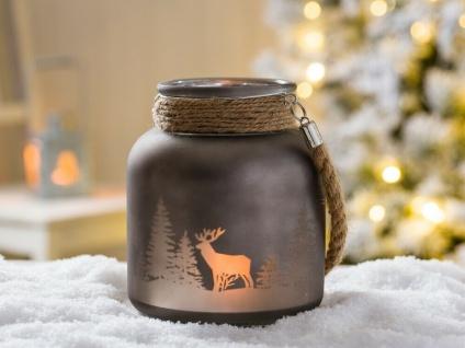 Windlicht WINTERWALD mit Kordel dunkelgrau 16 cm Hirsch Motiv Glas