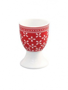 Krasilnikoff Eierbecher DAISY Rot Porzellan Geschirr Blumen weiß