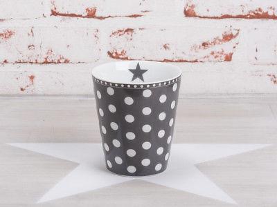 Krasilnikoff Happy Mug Becher PUNKTE Dunkelgrau weiß Tasse Porzellan Grau