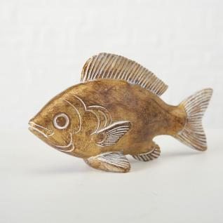 Deko FISCH Aufsteller JAN Gold Maritime Deko Objekt Fische Angler Geschenk 15 cm