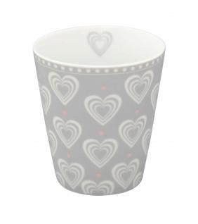 Krasilnikoff Becher Happy Mug Herzen 3D hellgrau Tasse Porzellan Kaffeebecher