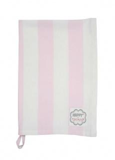 Krasilnikoff Geschirrtuch Blockstreifen rosa Geschirrhandtuch Streifen pink weiß