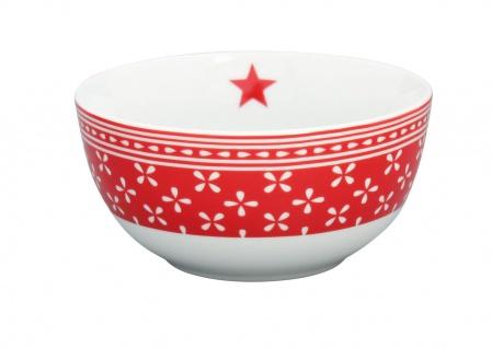Krasilnikoff Schale Happy Bowl DAISY Rot Blumen weiß Müslischale Porzellan