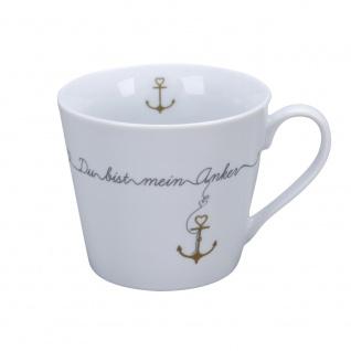 Krasilnikoff Happy Cup Becher DU BIST MEIN ANKER Kaffeebecher 300 ml Tasse
