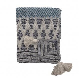 Bloomingville Decke Grau Blau Recycelt Baumwolle 130x160 Wolldecke mit Bommeln