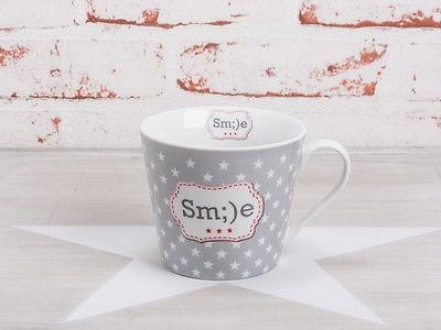 Krasilnikoff Happy Cup Henkel Becher SMILE Grau Sterne weiß Tasse Porzellan