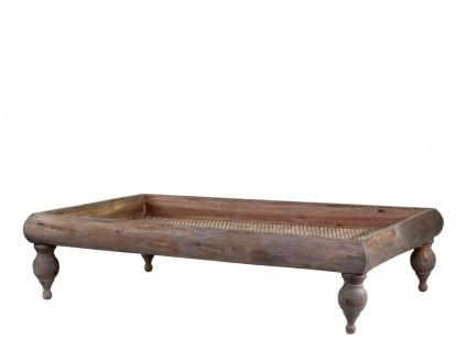 Chic Antique Tablett auf Füßen aus Holz und Rattan 40x58 Deko Tablett