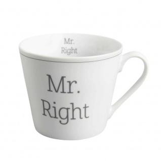 Krasilnikoff Tasse Happy Cup MR. RIGHT Porzellan Becher weiß mit Henkel 300 ml