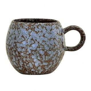 Bloomingville Tasse Paula blau braun Becher mit Henkel 300 ml Keramik