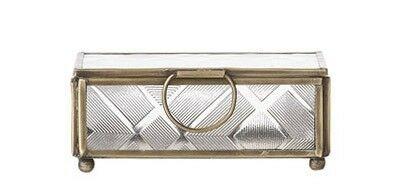 Bloomingville Glas Box Gold Rahmen klein Schmuckbox Schatulle Dose mit Deckel