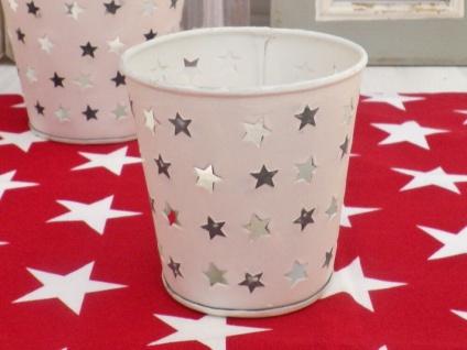 Windlicht MARY Weiß Metal Sterne Grau ausgestanzt Stern 10 cm Weihnachtsdeko