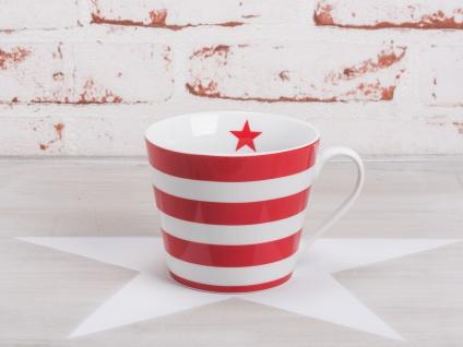 Krasilnikoff Tasse Happy Cup STREIFEN Rot weiß Porzellan Becher gestreift Stern