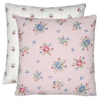 Greengate Kissen ROBERTA Rosa 50x50 Kissenhülle Kissenbezug mit Blumen Baumwolle