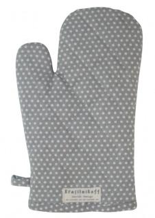 Krasilnikoff Ofenhandschuh Micro Punkte Grau Baumwolle Hellgrau Weiß gepunktet