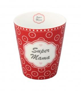Krasilnikoff Becher Happy Mug SUPER MAMA Rot Kreise Tasse Porzellan Kaffeebecher