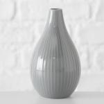 Vase IRMA Grau Keramik Blumenvase 18 cm groß Deko Design Klassik Tischdeko