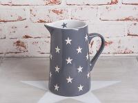 Krasilnikoff Krug BRIGHTEST STAR Dunkelgrau Kanne grau Sterne weiß Karaffe 1, 25L