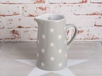 Krasilnikoff Krug BRIGHTEST STAR Hellgrau Kanne grau Sterne weiß Karaffe 1, 25 L