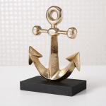 Deko ANKER Aufsteller Gold 21 cm Metall Maritime Deko Objekt Stockanker Segler