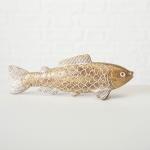 Deko FISCH Aufsteller KNUT Gold Maritime Deko Objekt Fische Angler Geschenk 18cm