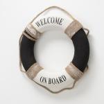Deko Objekt RETTUNGSRING Welcome on Board 50 cm Holz Schwarz weiß Maritime Deko