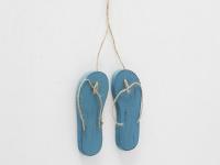 Deko Hänger FLIP FLOPS Blau Holz Sommerdeko Objekt 15 cm Geschenk Anhänger