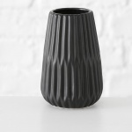 Vase LINE schwarz Keramik Blumenvase 17cm Deko Geschenk Tischdeko Design Klassik
