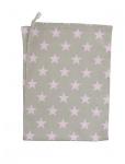 Krasilnikoff Geschirrtuch Sterne taupe/rosa. Geschirrhandtuch sand pink Stern