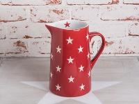 Krasilnikoff Krug BRIGHTEST STAR Rot Kanne Sterne weiß Karaffe 1, 25 Liter 19 cm
