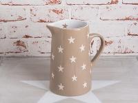 Krasilnikoff Krug BRIGHTEST STAR Taupe Kanne Sterne weiß Keramik Karaffe 1, 25 L