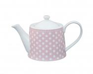 Krasilnikoff Teekanne Punkte rosa Porzellan 1 Liter pink weiß gepunktet pink