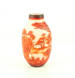 Blumenvase Handarbeit Vase Africa Elefant Design rot Orange